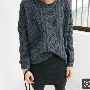 Madewell dark grey wool blend leather trim mini